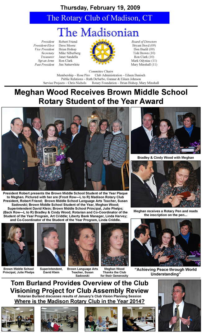 Madison Ct Rotary Newsletter Archive Feb 19 2009